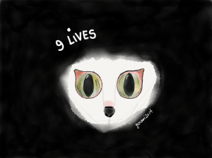I drew this for my short story Nine Lives, which is featured in the zombie anthology, Eat.